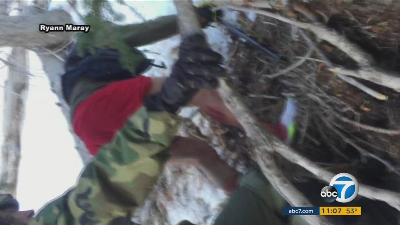Hikers help rescue a 69-year-old man who slid down a 100-foot ice chute in Mount Baden-Powell in the San Gabriel Mountains on Saturday, Feb. 13, 2016.