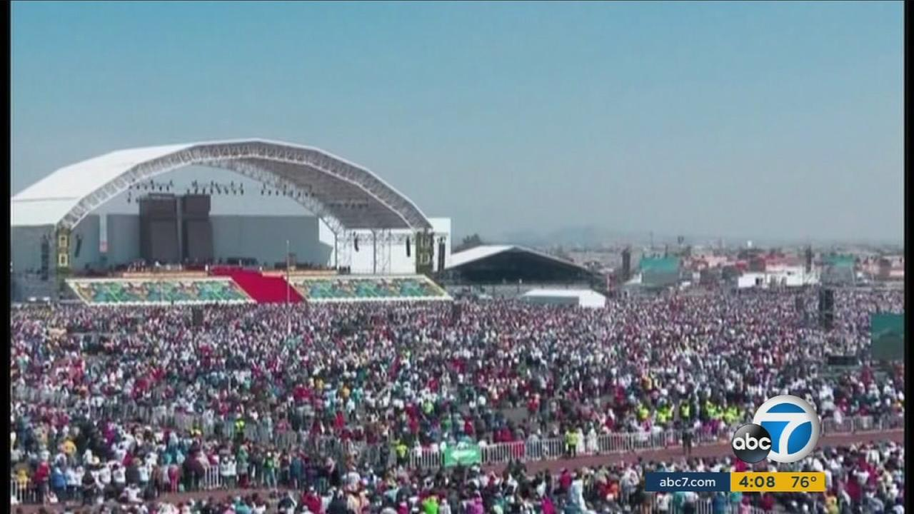 Pope Francis delivers Mass in Ecatepec, Mexico, during his historic visit to the largest Spanish-speaking Catholic country on Sunday, Feb. 14, 2016.