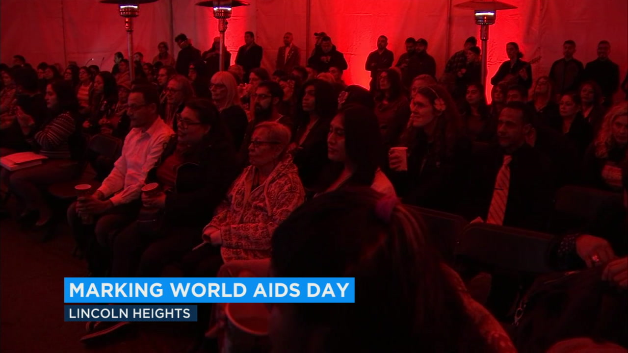 In Lincoln Heights, solemn music accompanied the reflections at the Las Memorias AIDS Monument for World AIDS Day.