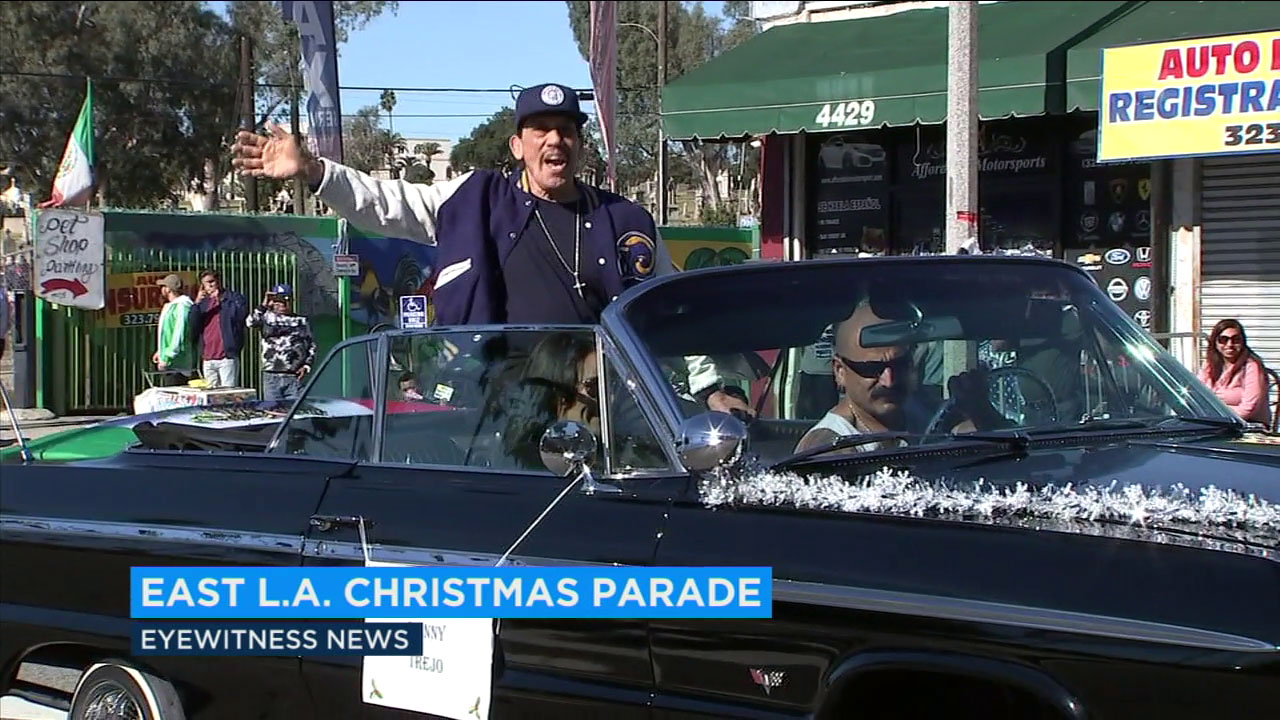 Actor Danny Trejo was among the personalities participating in the East Los Angeles Christmas parade.