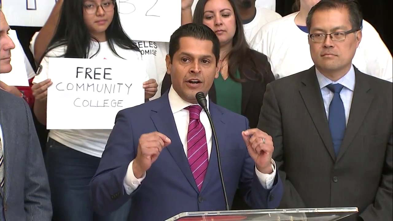 California Assembly Member Miguel Santiago speaks at a news conference about AB 2 on Tuesday, Dec. 4, 2018.