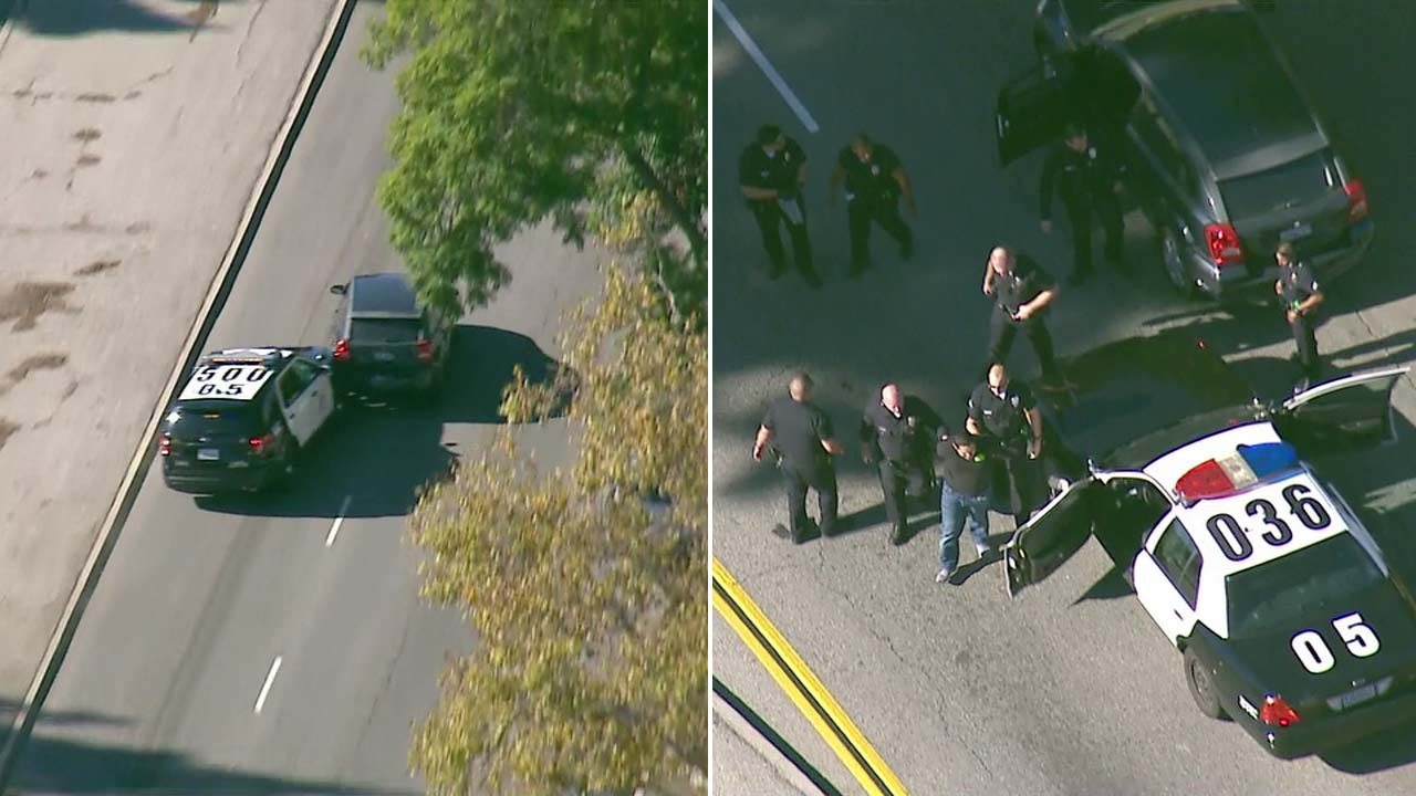 Los Angeles police stopped a robbery suspect who led officers on a wild chase into the Long Beach area with a PIT maneuver.