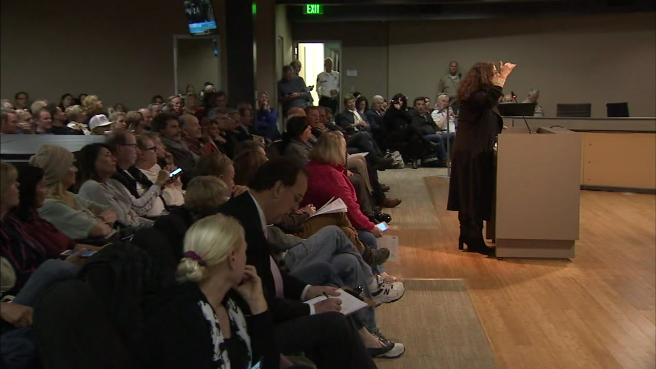A doctor is shown voicing her frustration over the Woolsey Fire response as she spoke during public comment at a Malibu City Council meeting on Tuesday, Dec. 4, 2018.