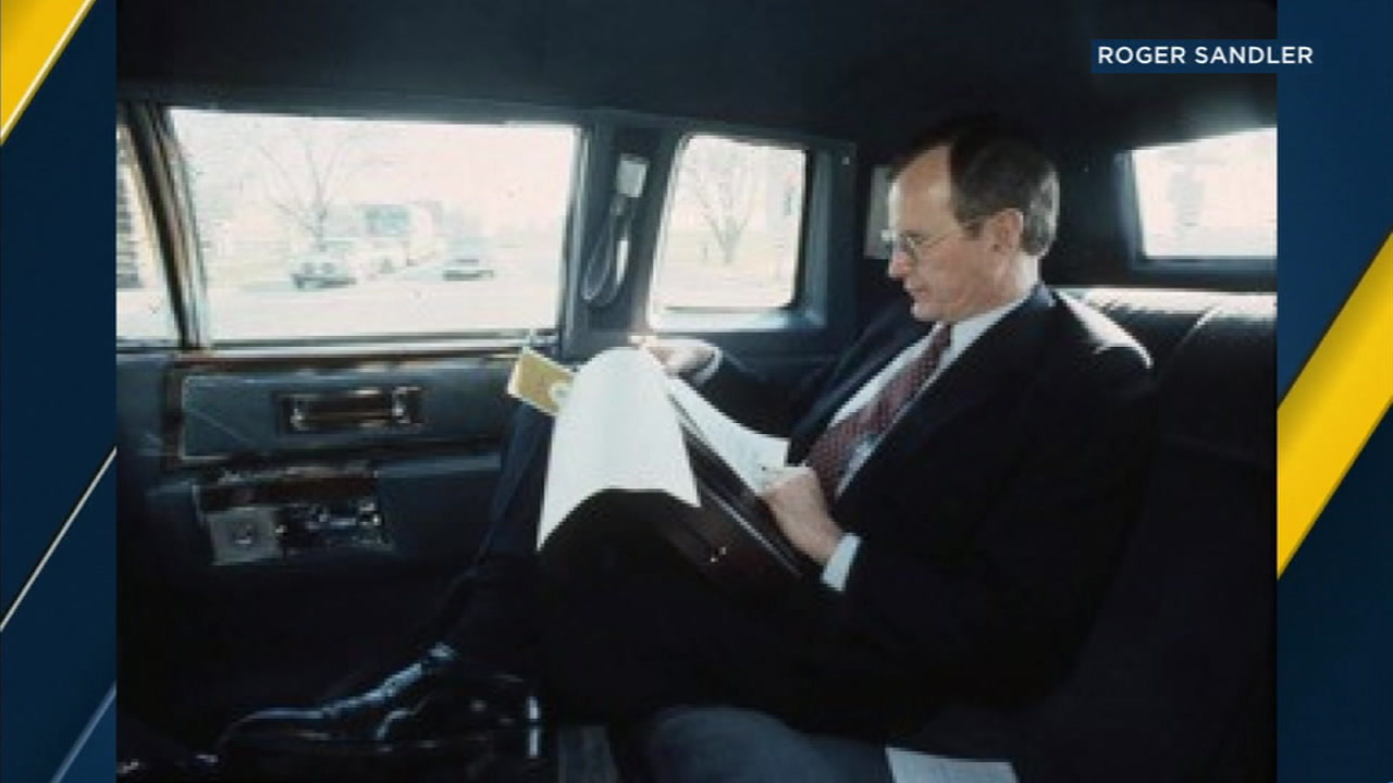 Former President George H.W. Bush is shown in one of hundreds of photographers taken by Roger Sandler during a 12-year assignment.