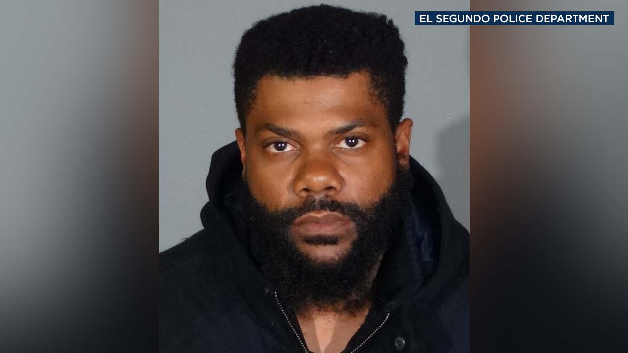 Kerry Frank Lathon, 35, is seen in a booking photo from the El Segundo Police Department.