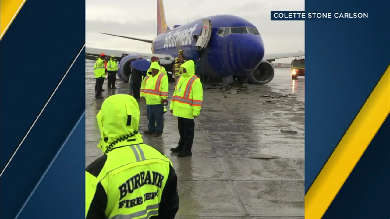 A Southwest Airlines flight lifted up concrete after skidding at the end of a runway at Hollywood Burbank Airport.