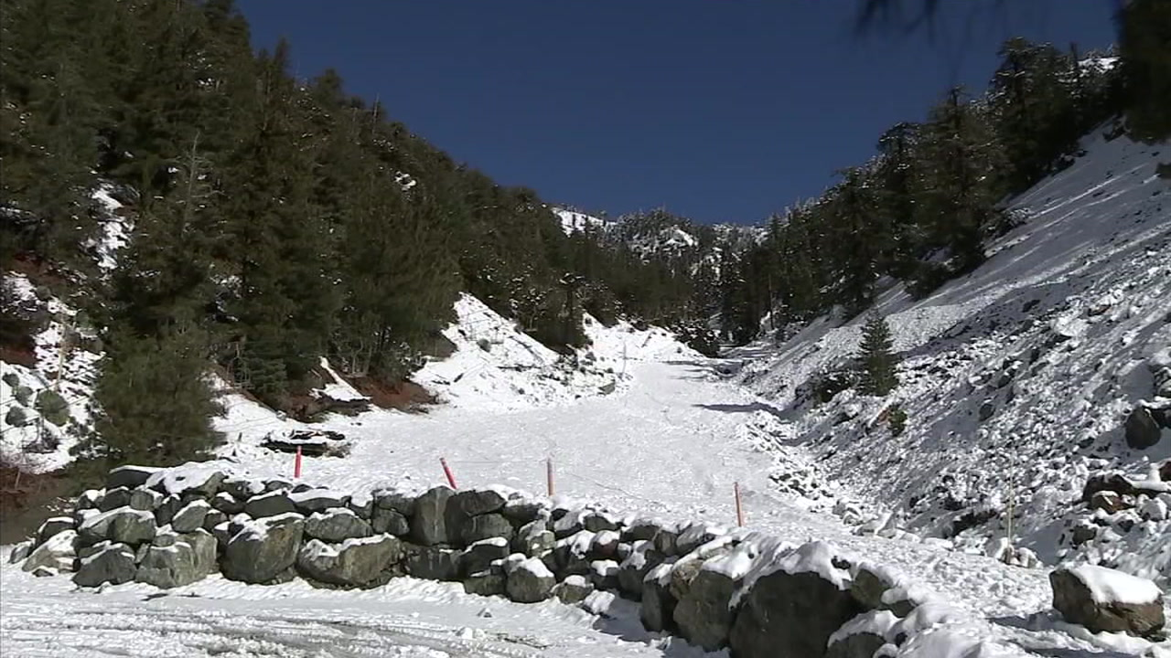Snow is shown on Mount Baldy.