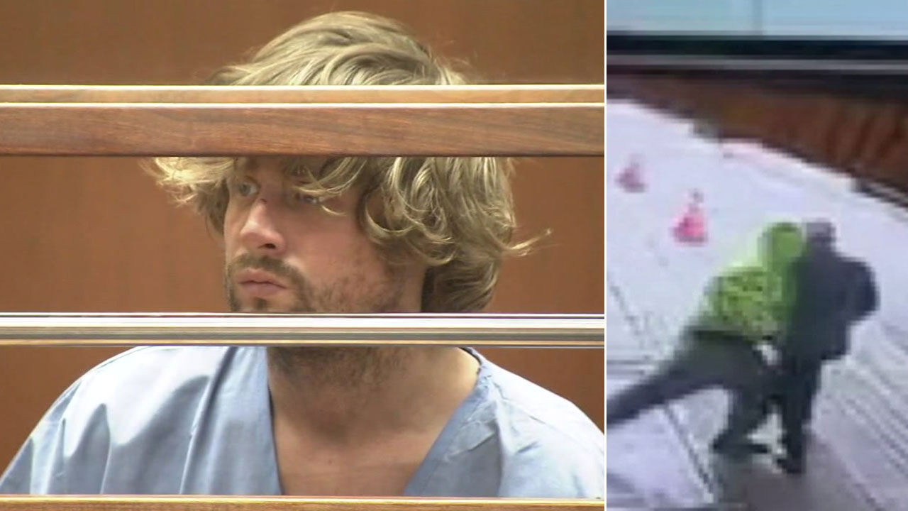 Garrett Joseph Boldt, 41, is shown in court alongside a surveillance video showing him allegedly pushing a pedestrian in front of a truck in downtown L.A.