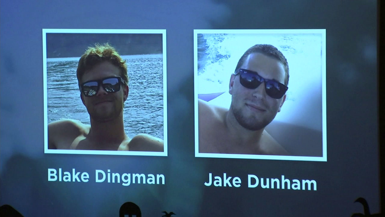 Thousand Oaks mass shooting victims Blake Dingman and Jake Dunham are shown at a memorial ceremony.