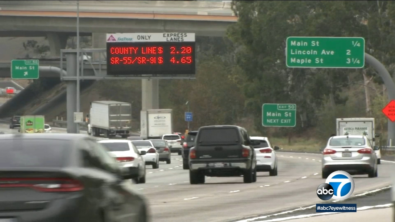The express lanes on the 91 Freeway are shown in Corona.