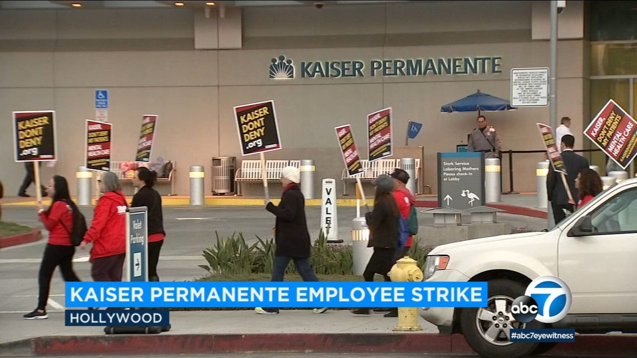 Four thousand Kaiser Permanente mental health workers began a five-day strike on Monday amid an ongoing labor dispute.