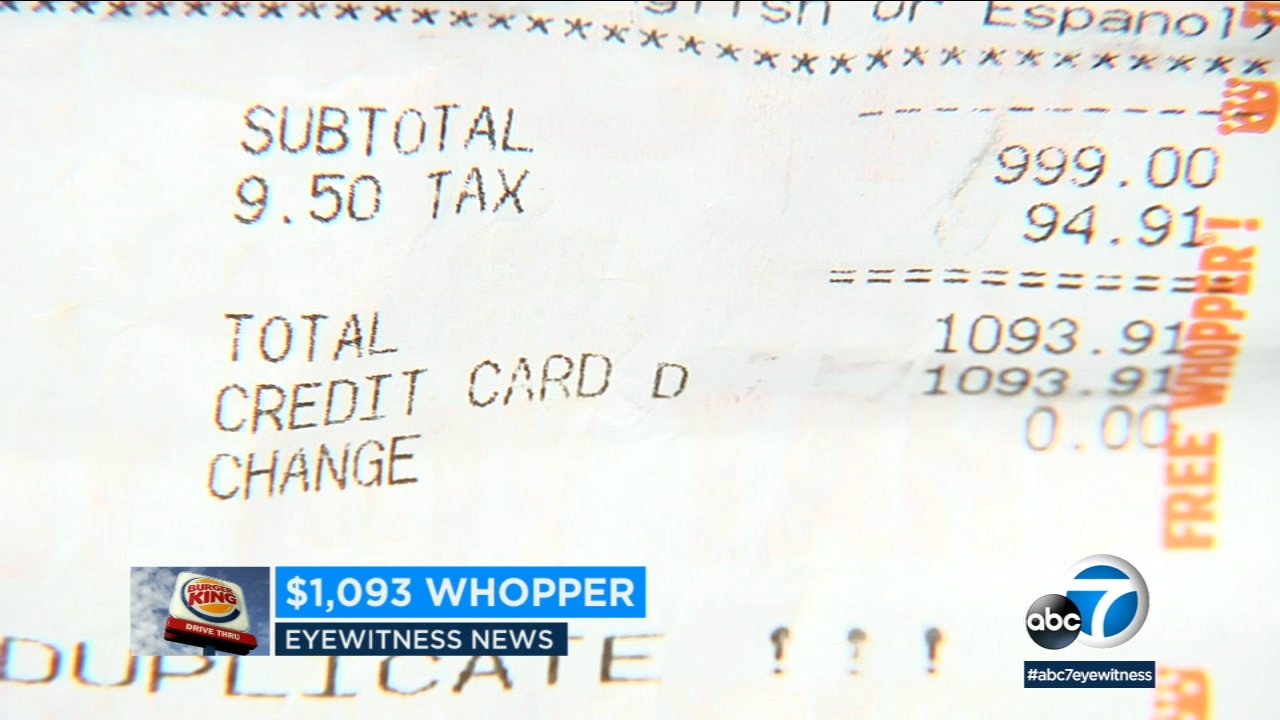 A receipt shows a Burger King customer being charged over $1,000 for the penny Whopper deal.