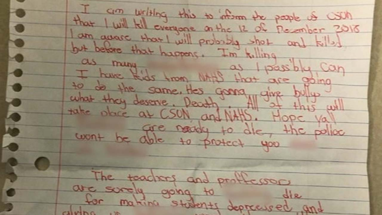 A mass shooting threat found at Cal State Northridge is pictured.