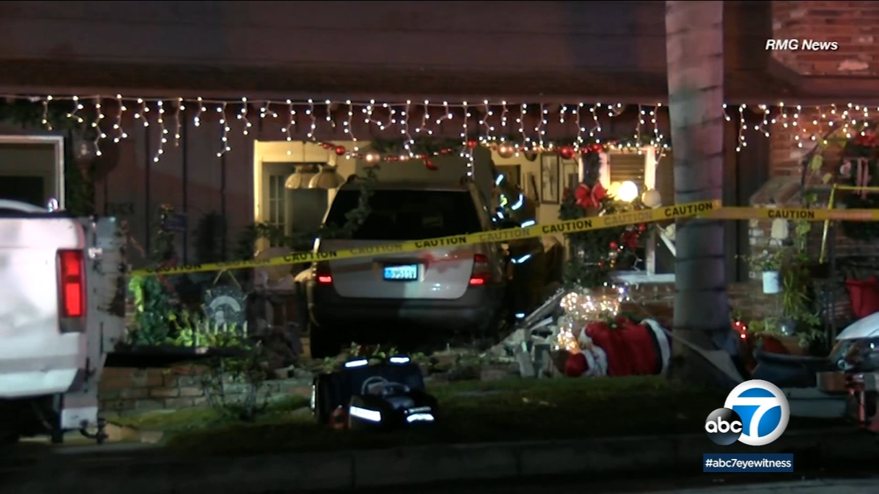 A car crashed into the living room of a San Gabriel home on Dec. 13, 2018.