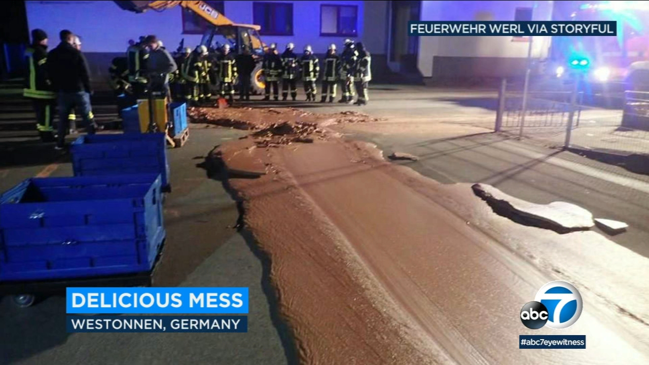 A storage tank at a German chocolate factory overflowed, sending a gooey stream of liquid chocolate oozing down the street.