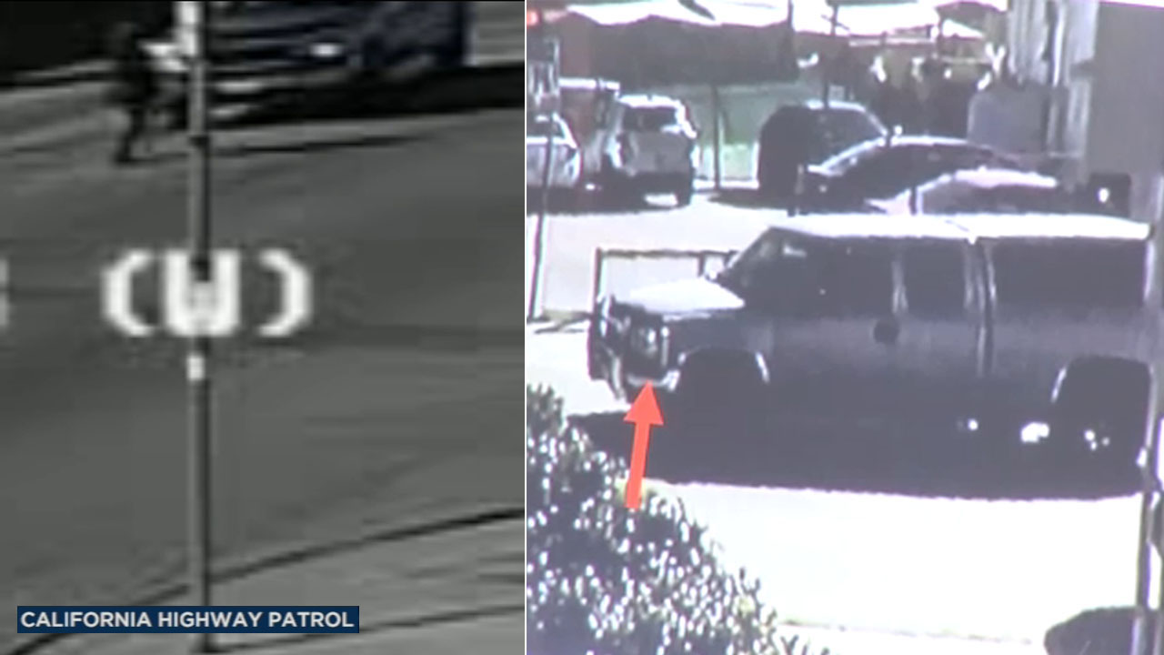 A split image shows different angles of a truck involved in a fatal hit-and-run crash that left a mother dead in Whittier on Saturday, Dec. 8, 2018.