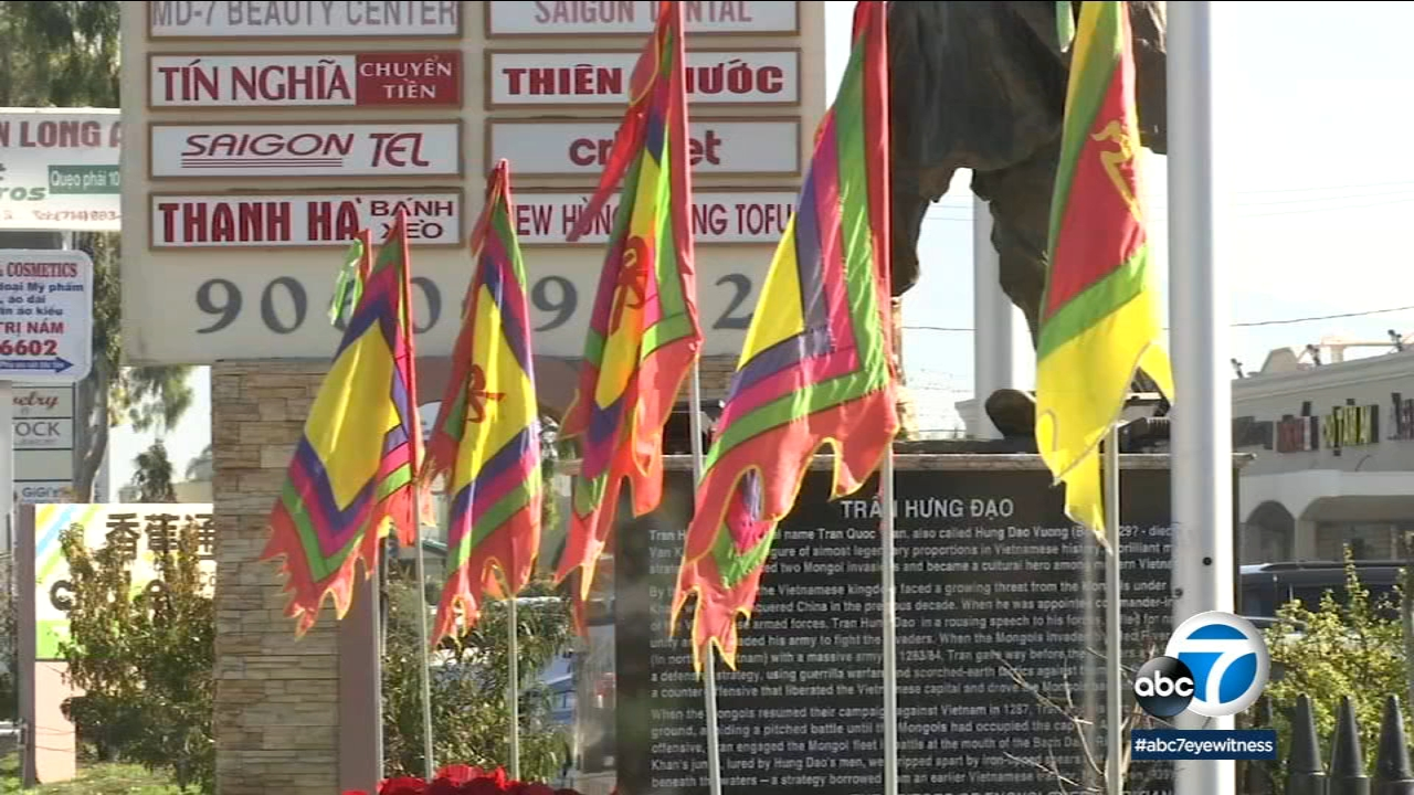 Flags are shown in the Little Saigon portion of Orange County.