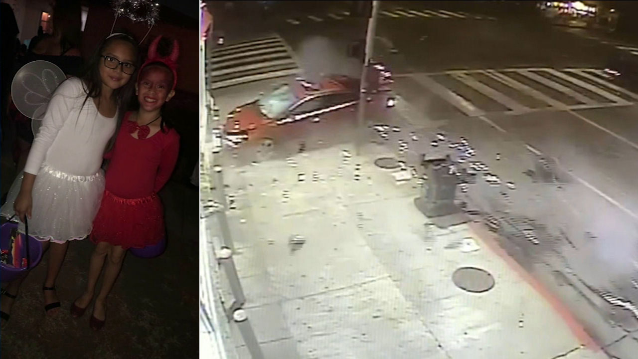 Childhood friends Angela Gregorio and Delila Rangel, both 9, are shown in a photo alongside surveillance footage of the crash they were involved in.
