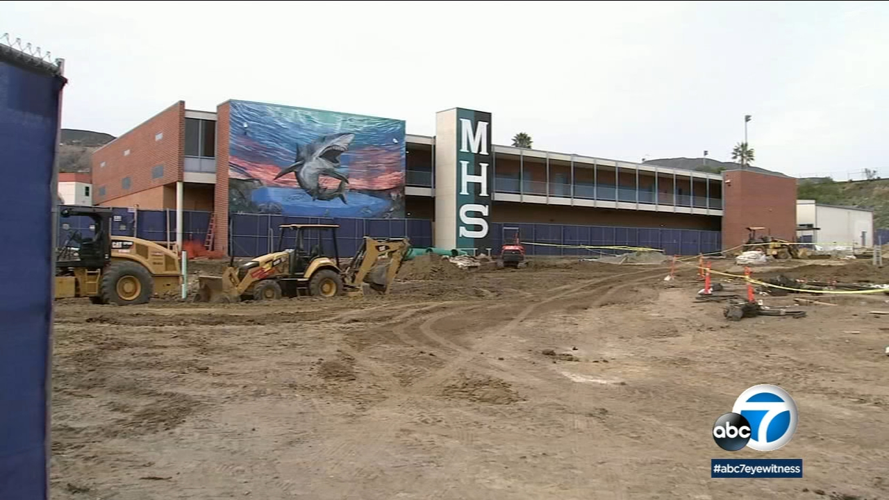 Construction at Malibu High School is shown in a photo.