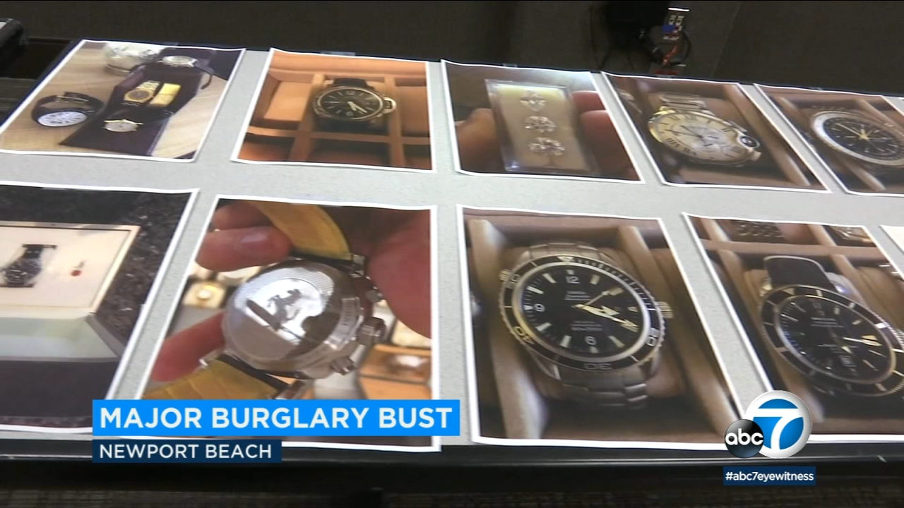 A number of stolen items are displayed in photos after a major burglar arrest in Newport Beach.