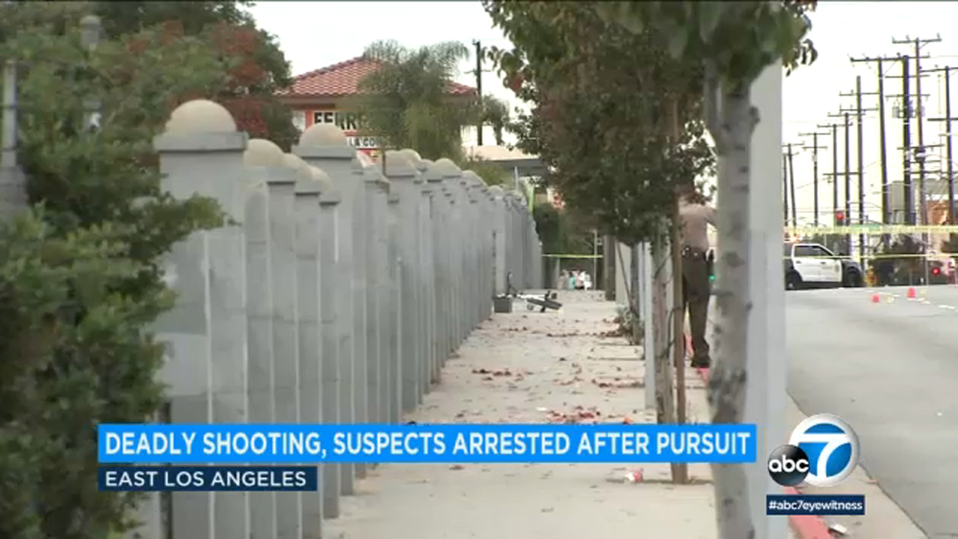 The scene of an East Los Angeles shooting that prompted a pursuit on Dec. 14, 2018.