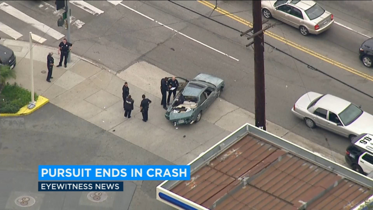The scene of a pursuit crash in Silver Lake on Friday, Dec. 14, 2018.