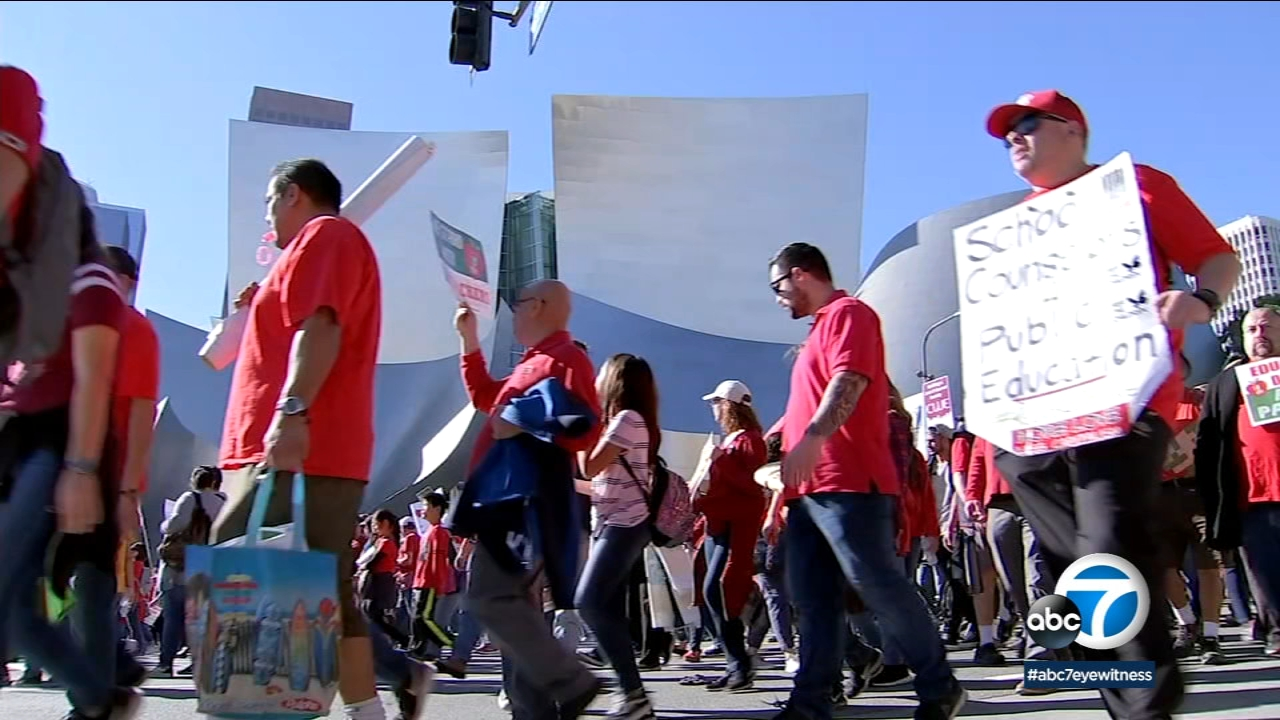 LAUSD teachers flood the streets of DTLA to march in solidarity as a possible strike looms closer.