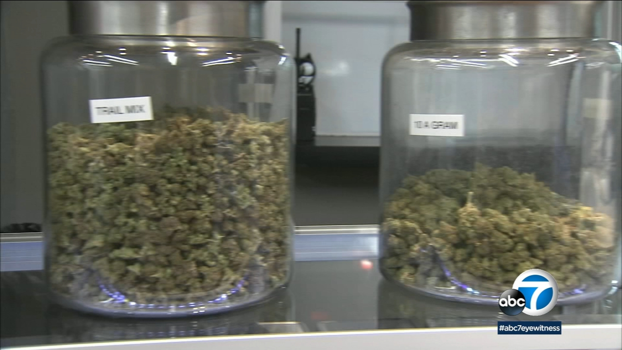 An undated photo of jars of marijuana at a SoCal pot dispensary.
