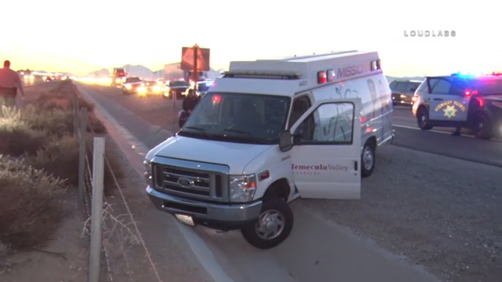 A stolen ambulance is wrecked after a wild chase ended in Hesperia on Sunday, Dec. 16, 2018.