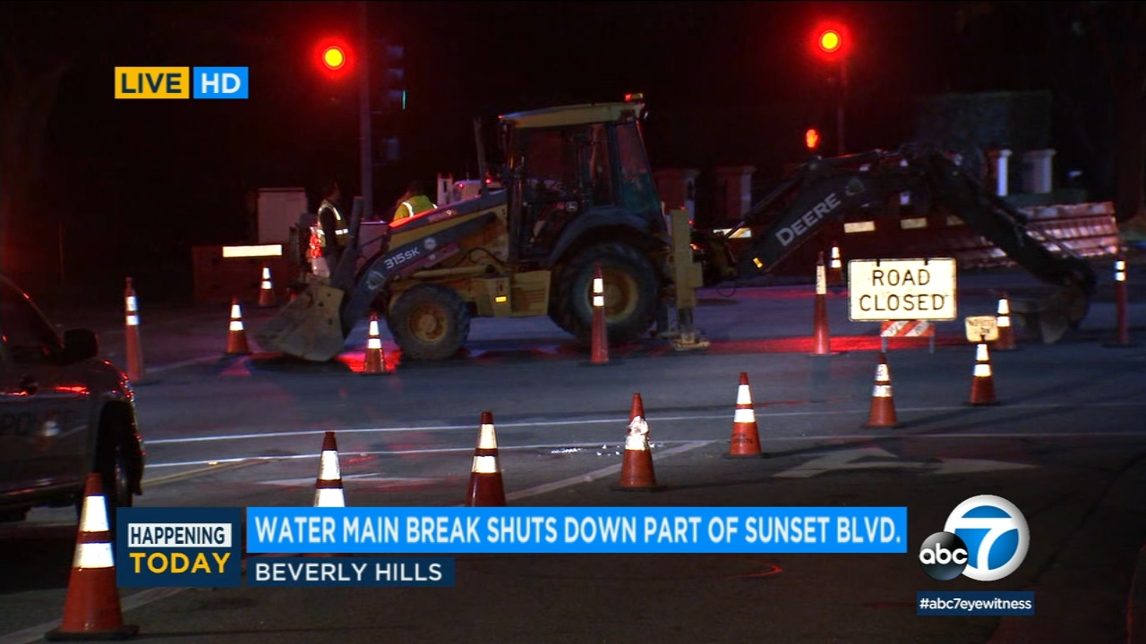 A water main break in Beverly Hills affects a portion of Sunset Boulevard on Dec. 17, 2018.
