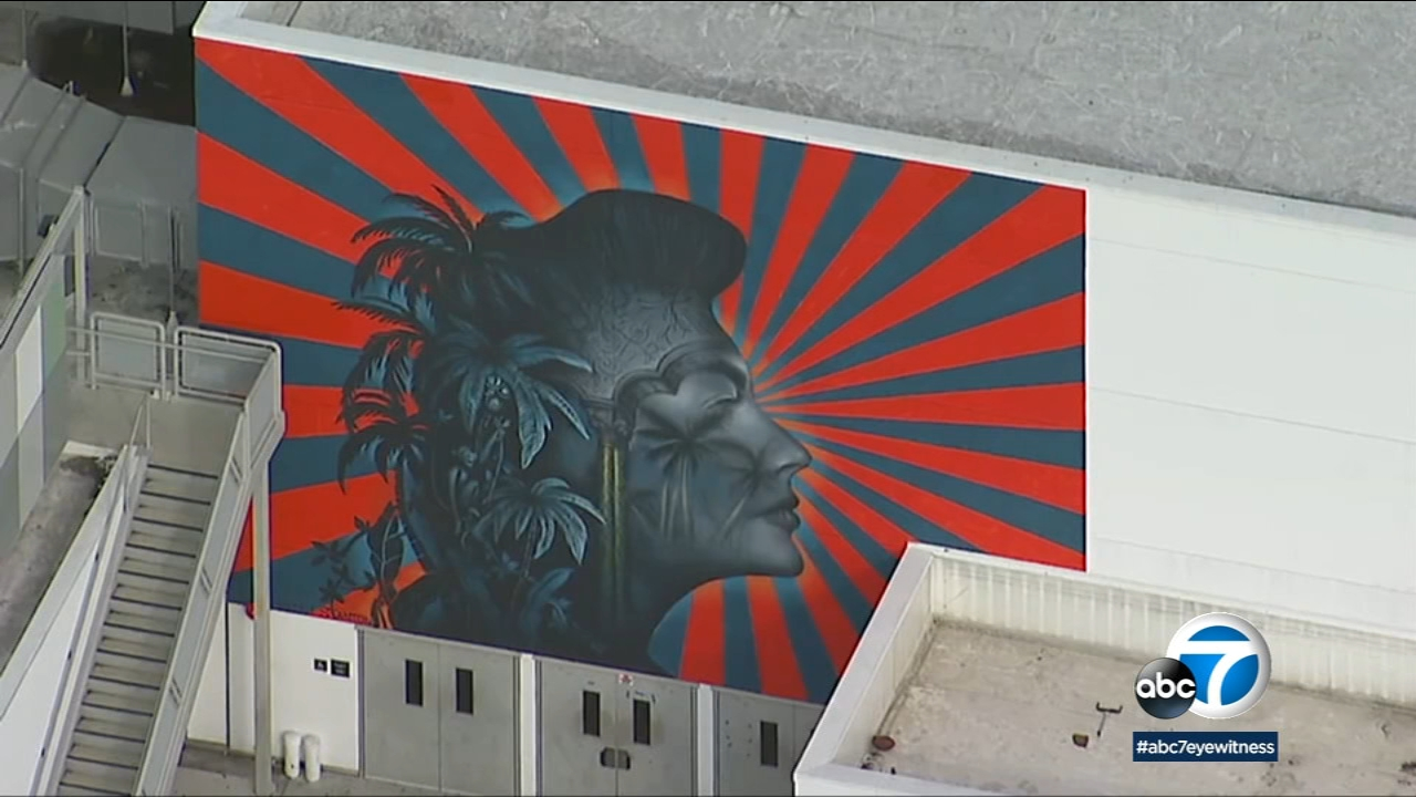 A mural of Ava Gardner is shown in footage from AIR7 HD.
