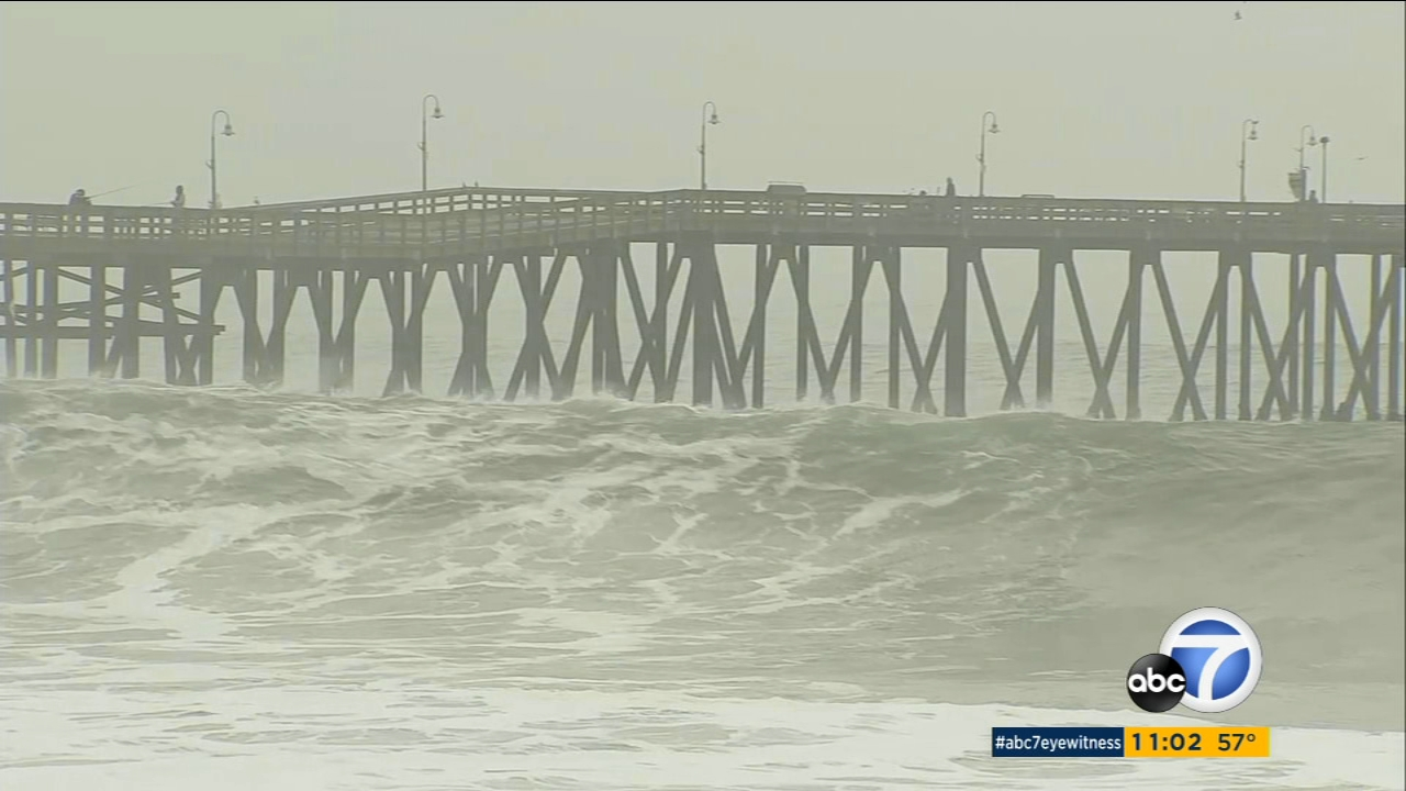 Rough waters are seen off the Ventura coast on Monday, Dec. 17, 2018.