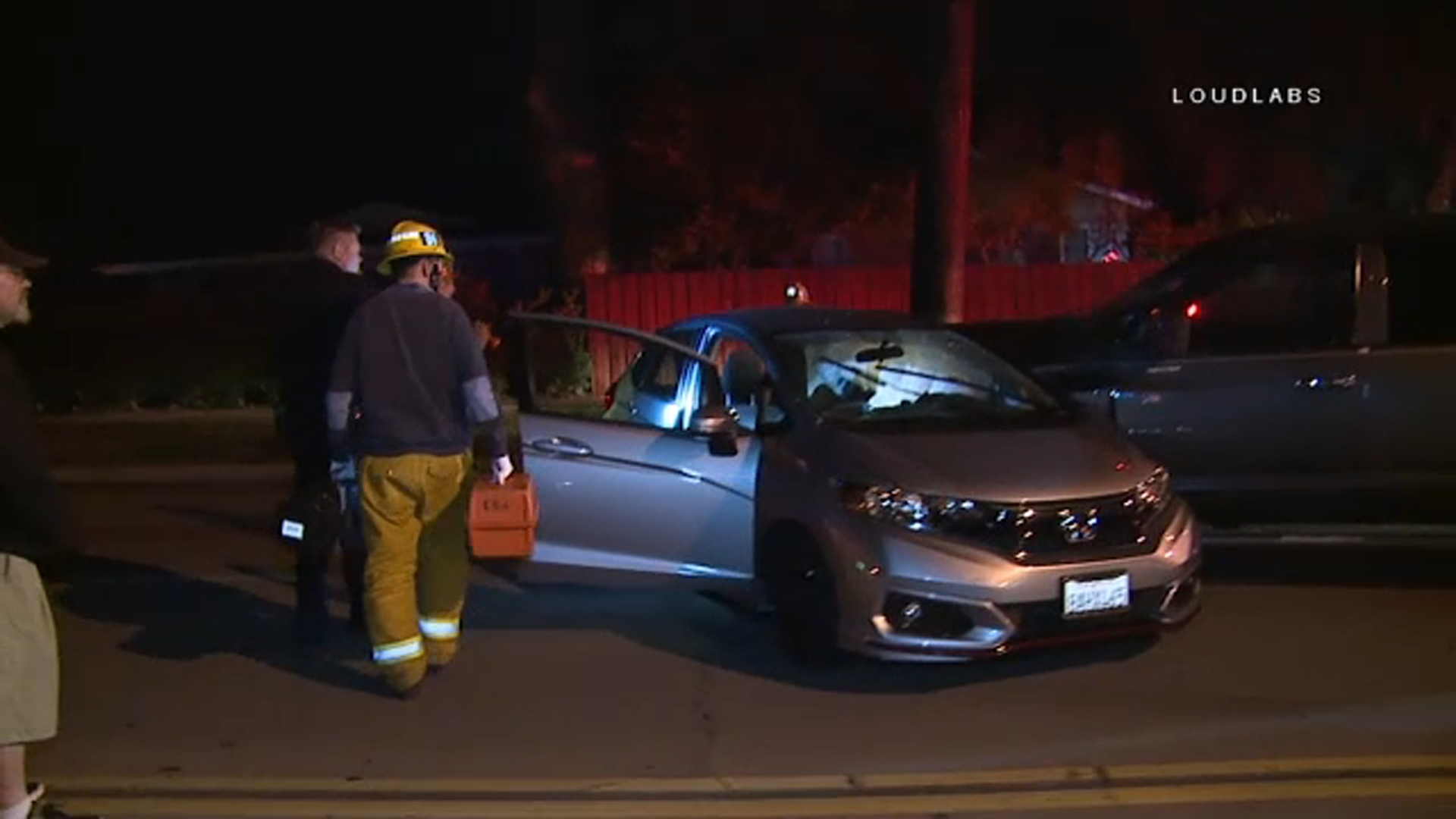 A woman in her 20s was killed in a two-vehicle crash that temporarily shut down a stretch of Topanga Canyon in Woodland Hills on Monday, Dec. 17, 2018.