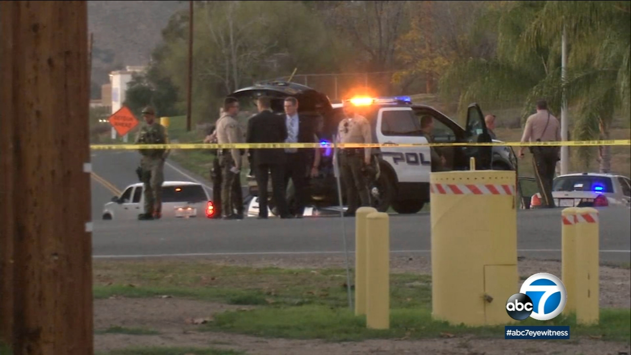Authorities surround the scene of an officer-involved shooting in Lake Elsinore, where the suspect later died from his injuries on Thursday, Dec. 19, 2018.