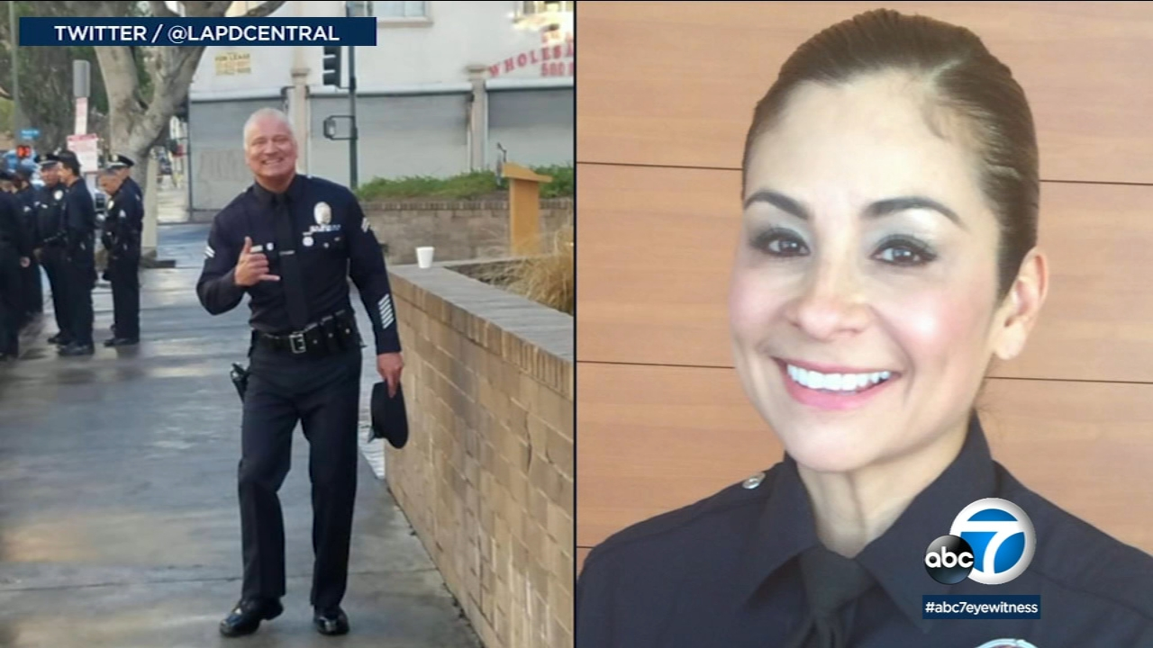 (Left) LAPD Officer Danny Reedy is seen in this photo from Twitter. (Right) LAPD detective Ysabel Villegas is seen in this photo provided by her attorney.
