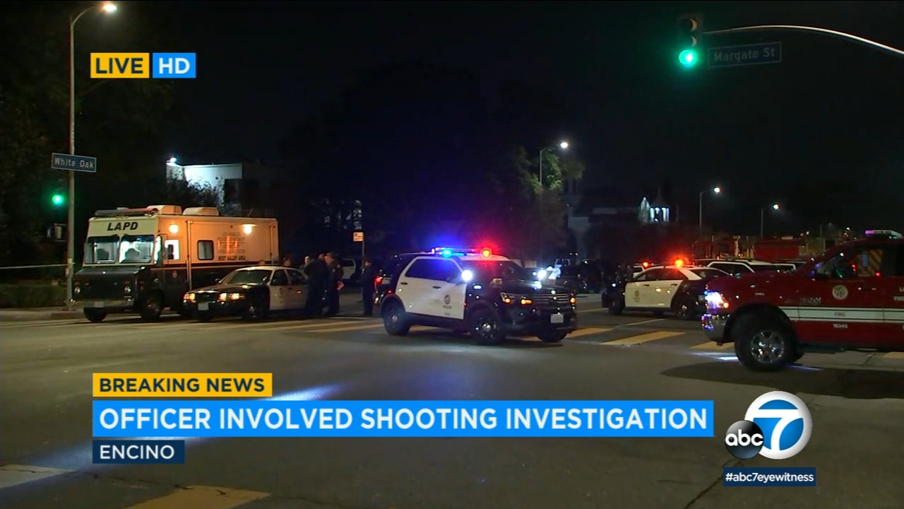 The scene of an officer-involved shooting in Encino on Saturday, Dec. 22, 2018.