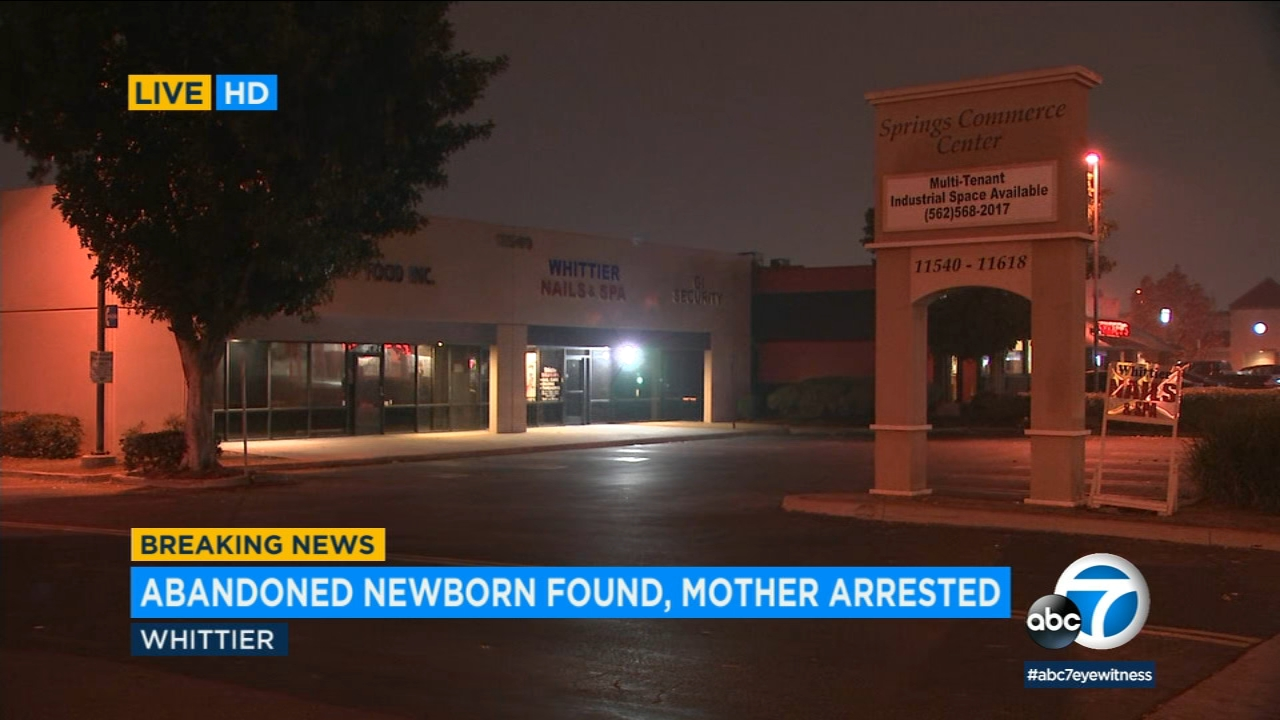 A woman has been arrested in connection with a newborn found abandoned in Whittier, officials said.