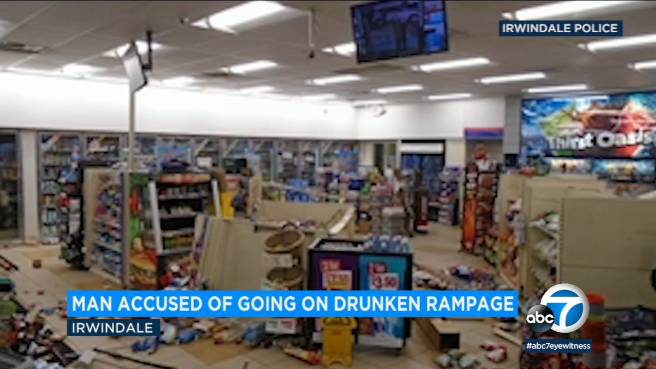 Police say a drunk man was traveling with his wife and kids when he went on a rampage at an AM/PM store in Irwindale.