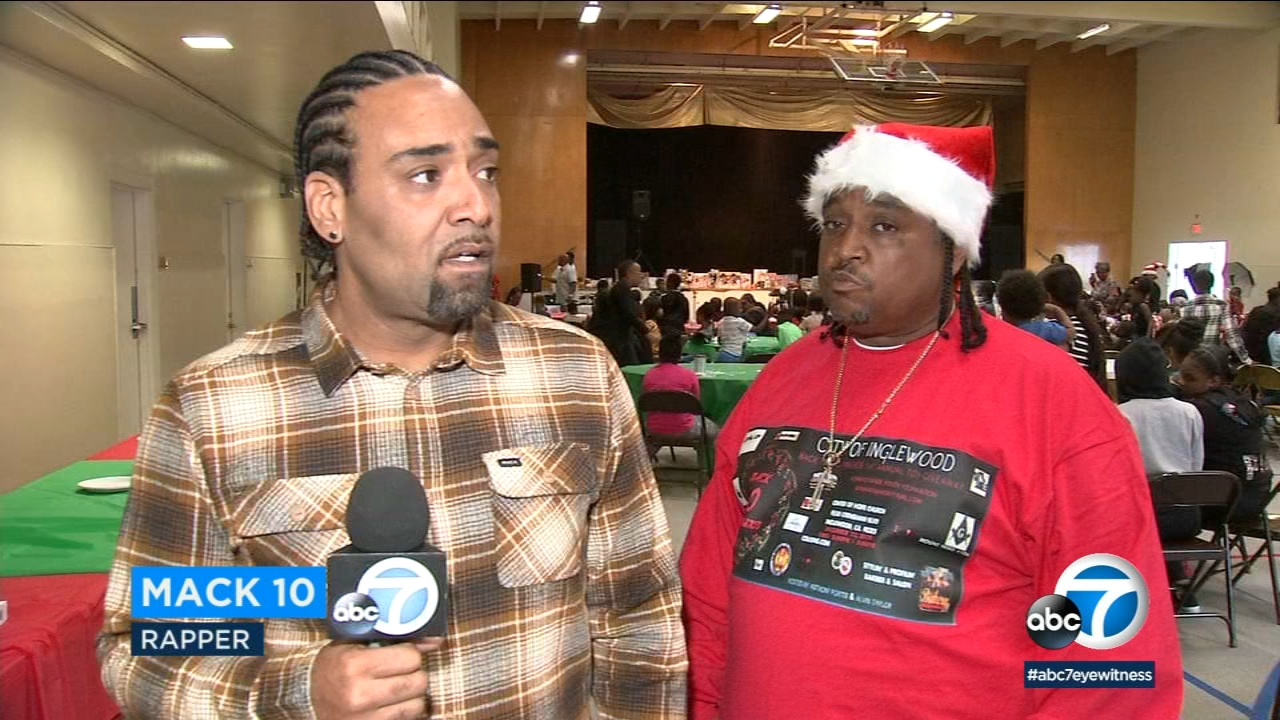 Rapper Mack 10 hosted what he plans to make the first of his annual toy giveaways in Inglewood, where he grew up.