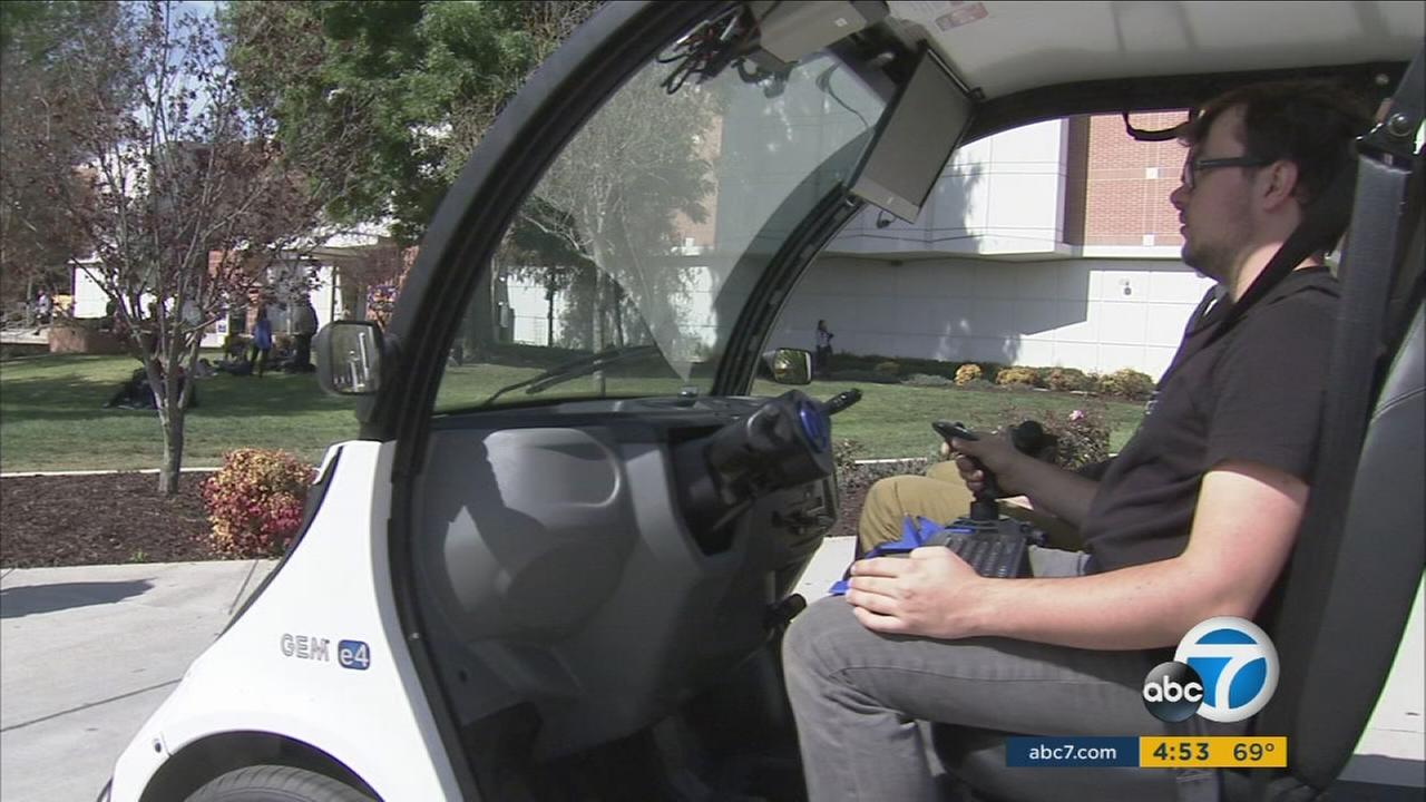The future has arrived at Mt. San Antonio College, where a self-driving shuttle is now giving students rides around campus.