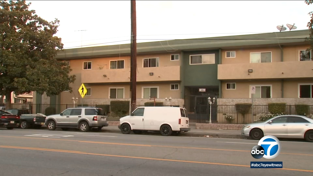 A photo shows a Van Nuys apartment complex where a mother and her 13-year-old son were found dead on Thursday, Dec. 27, 2018.