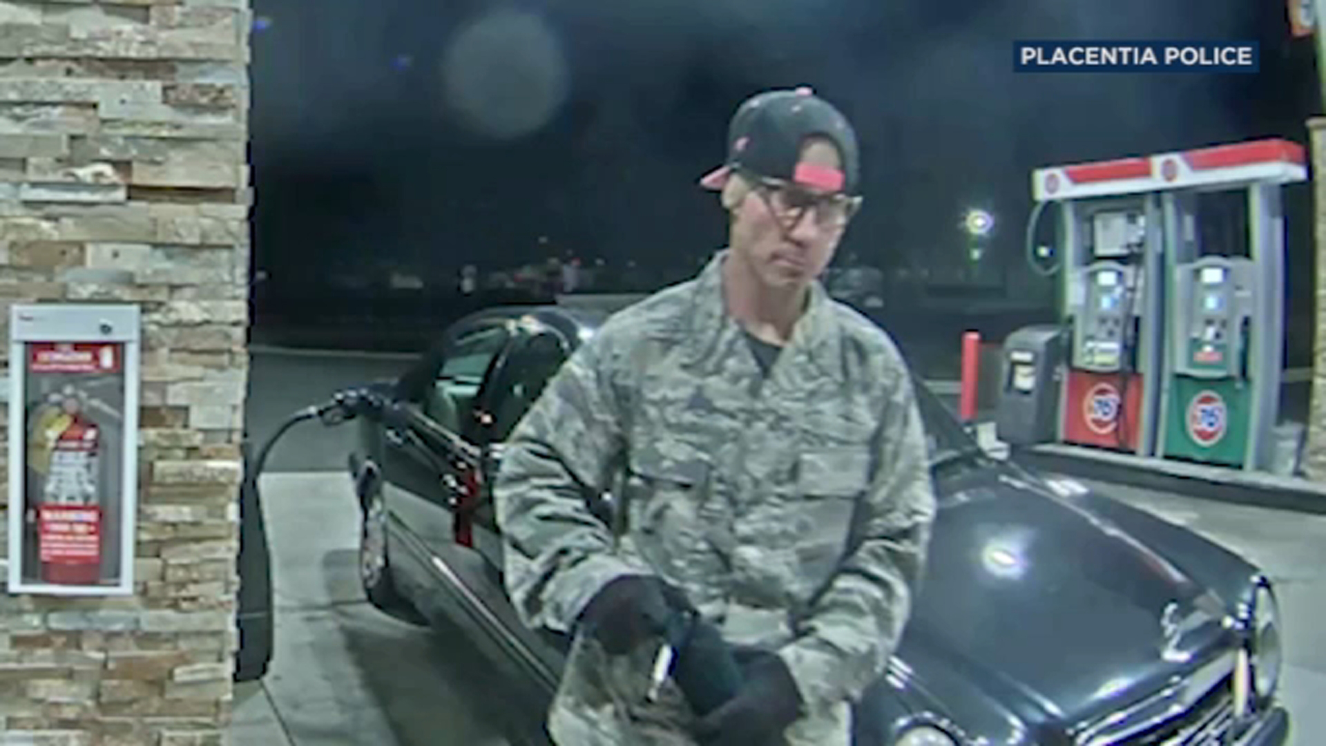 The Placentia Police Department is asking for the publics help in identifying a man caught on camera using a blowtorch while attempting to break into a gas station ATM machine.
