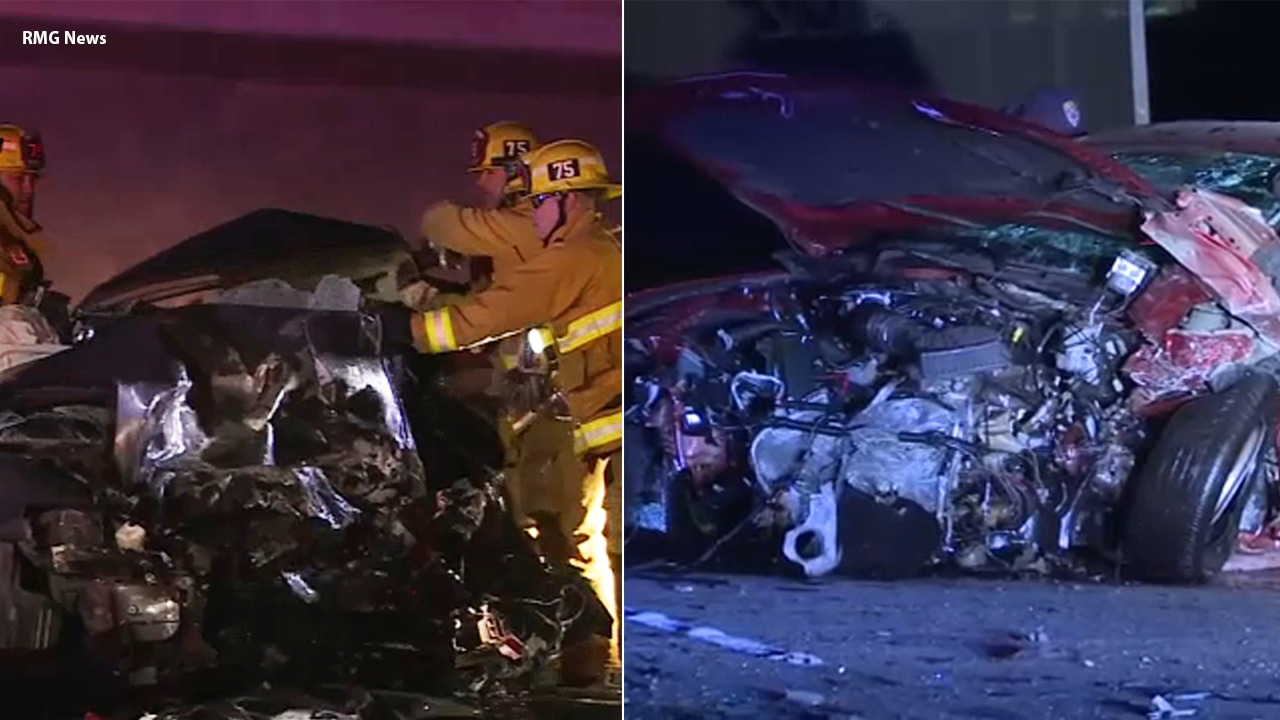 A split image shows the scene of a wrong-way crash in Sylmar on Friday, Dec. 28, 2018.