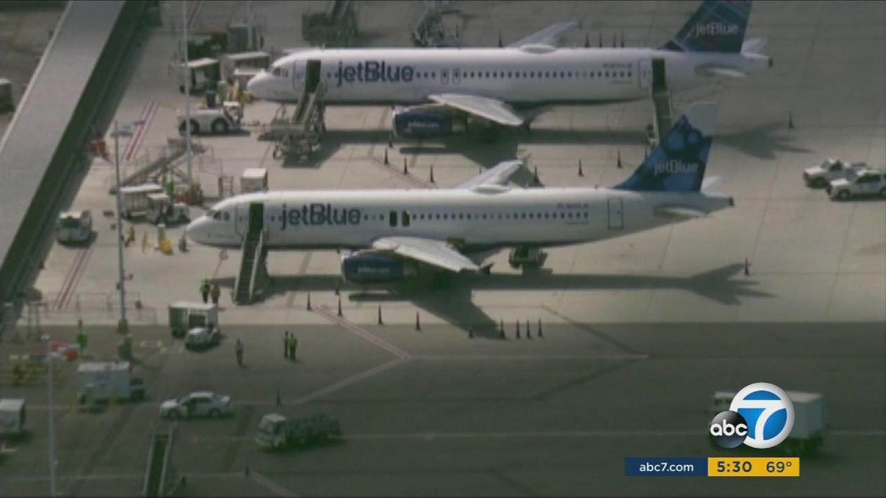 JetBlue airplanes are seen in this undated file photo.