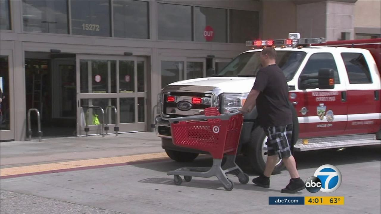 A Target store in Fontana remained open for two hours after a man stabbed himself to death in the kitchen section.