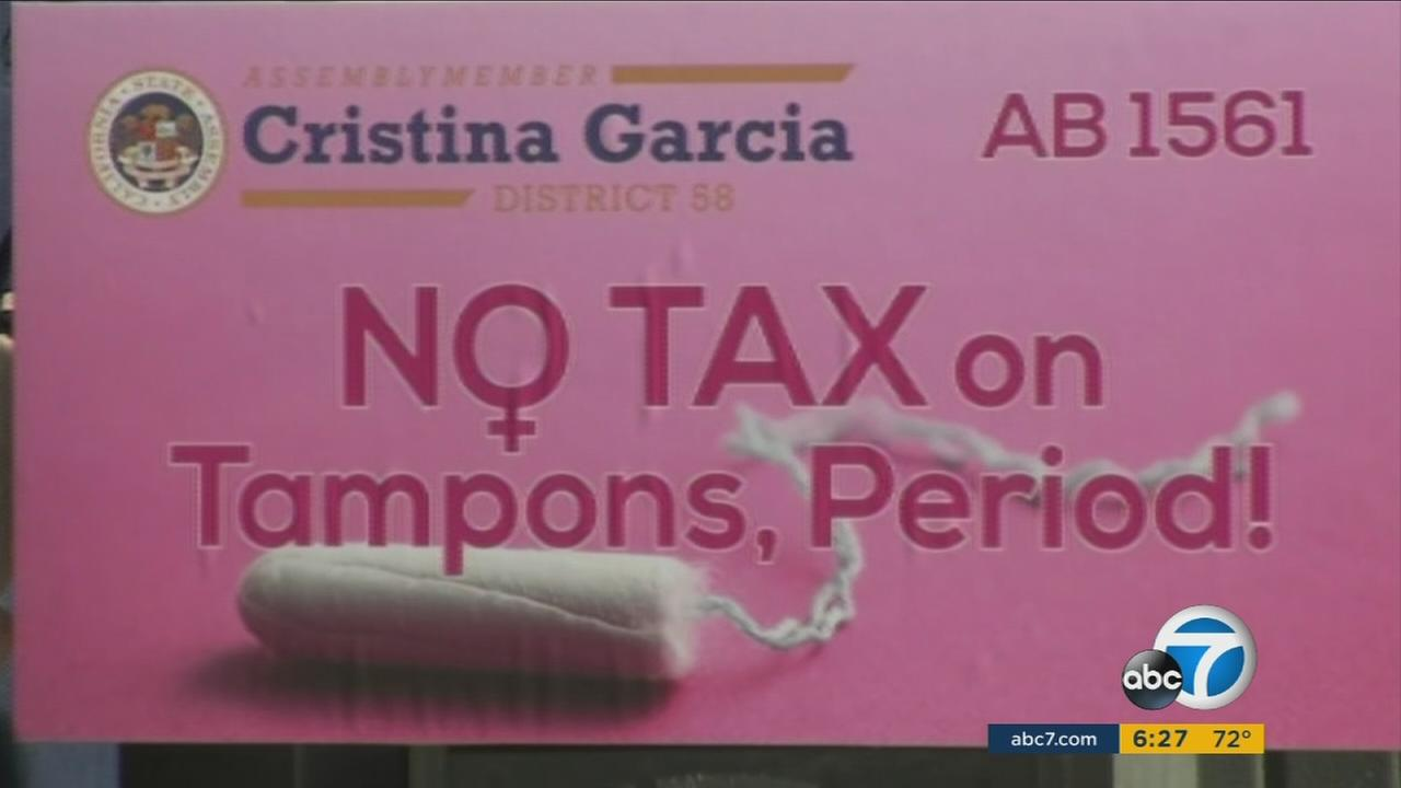 Women and lawmakers gathered at the California state capitol building on Monday to protest the price paid for having periods - a tax imposed on menstrual products.