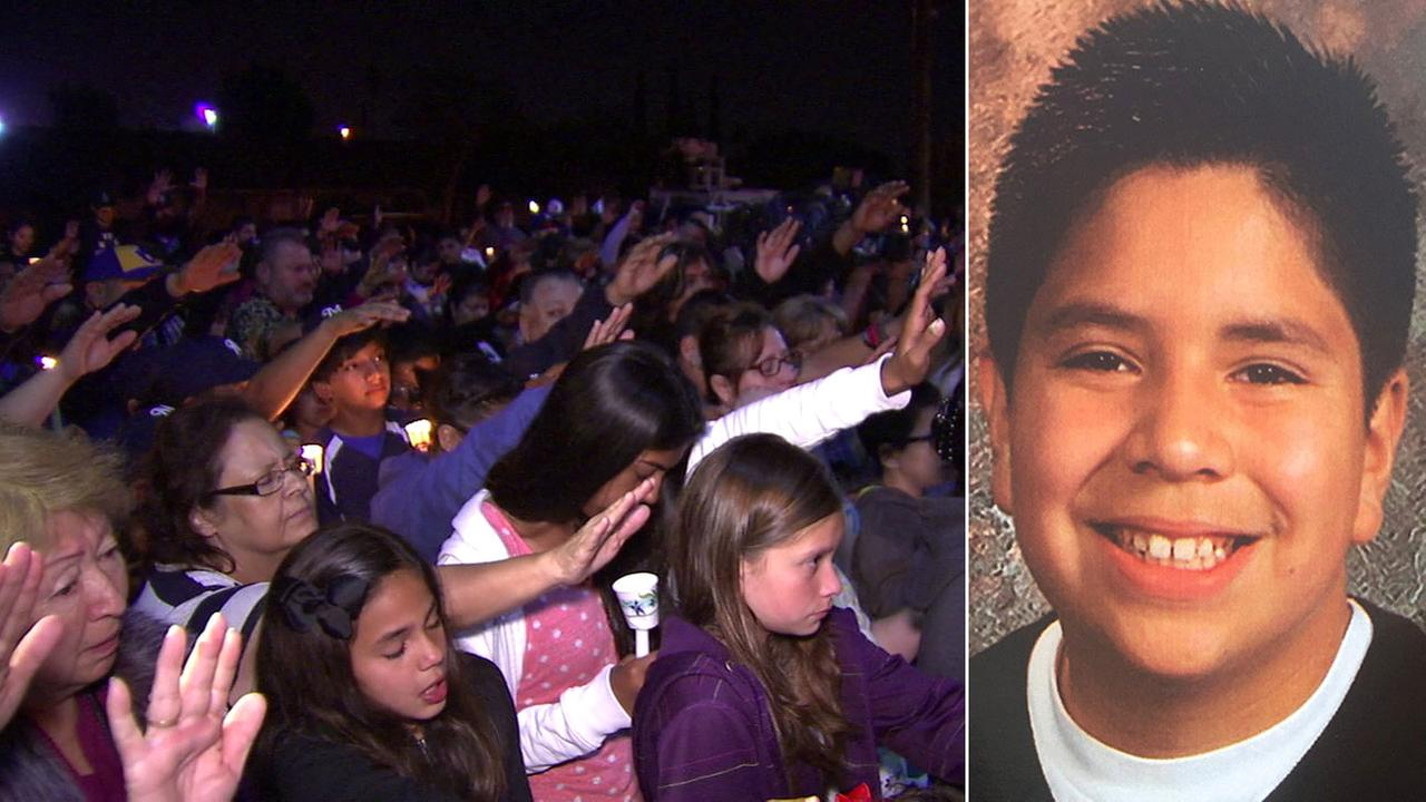 A community in Colton gathered at a candlelight vigil to honor the life of Dominick Gallegos, 12, who died on Tuesday, April 12, 2016.