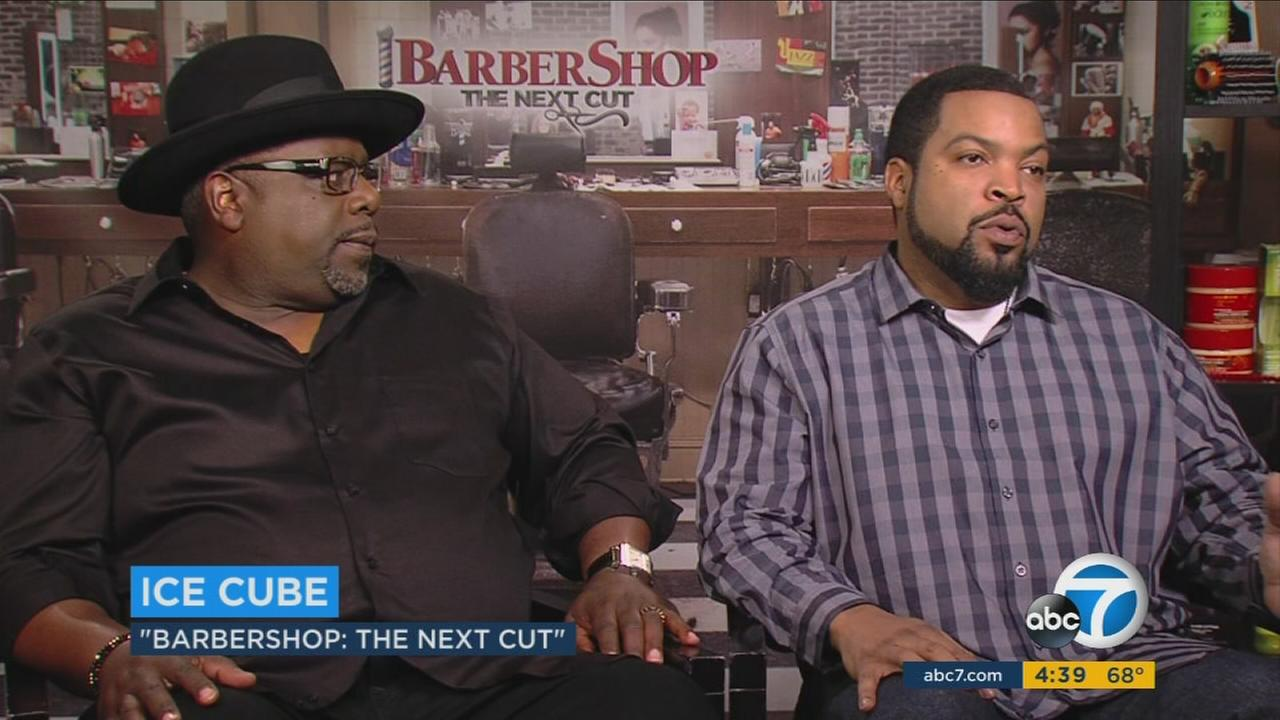 Cedric the Entertainer (left), and Ice Cube star in the latest Barbershop installment, Barbershop: The Next Cut.