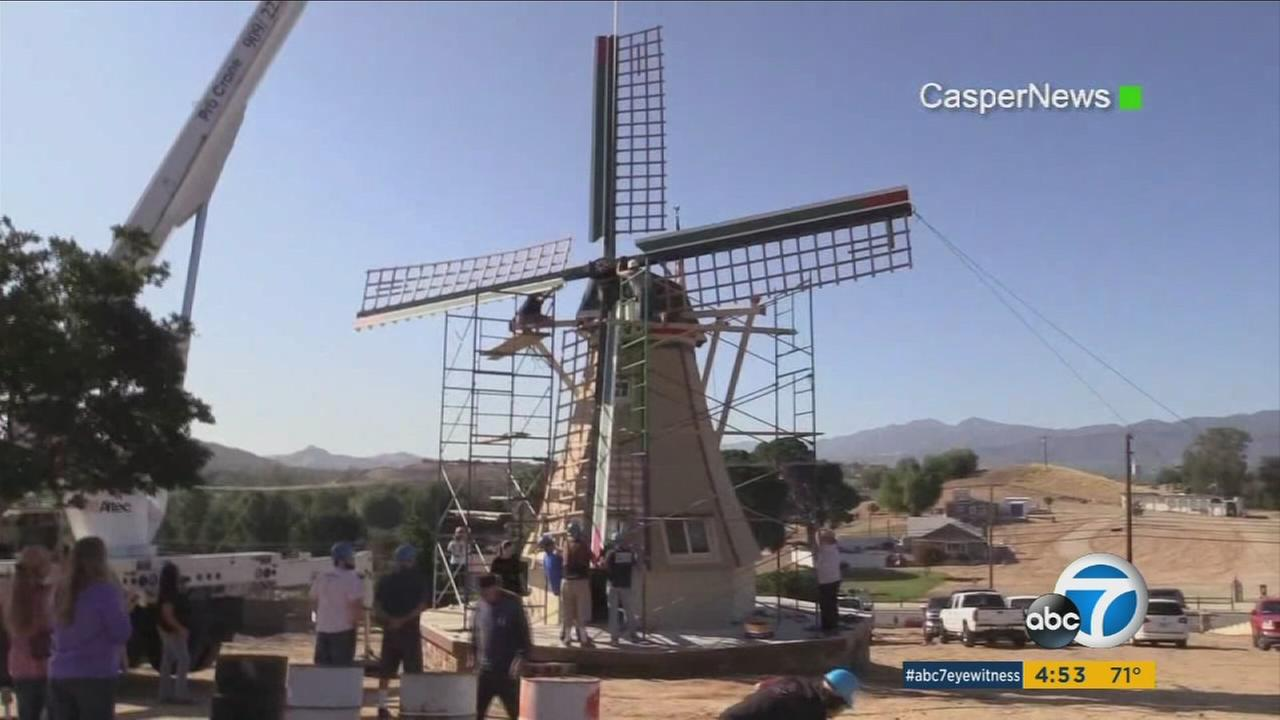 A Norco man has built a 40-foot windmill that will generate electricity in his yard as a present to his wife.