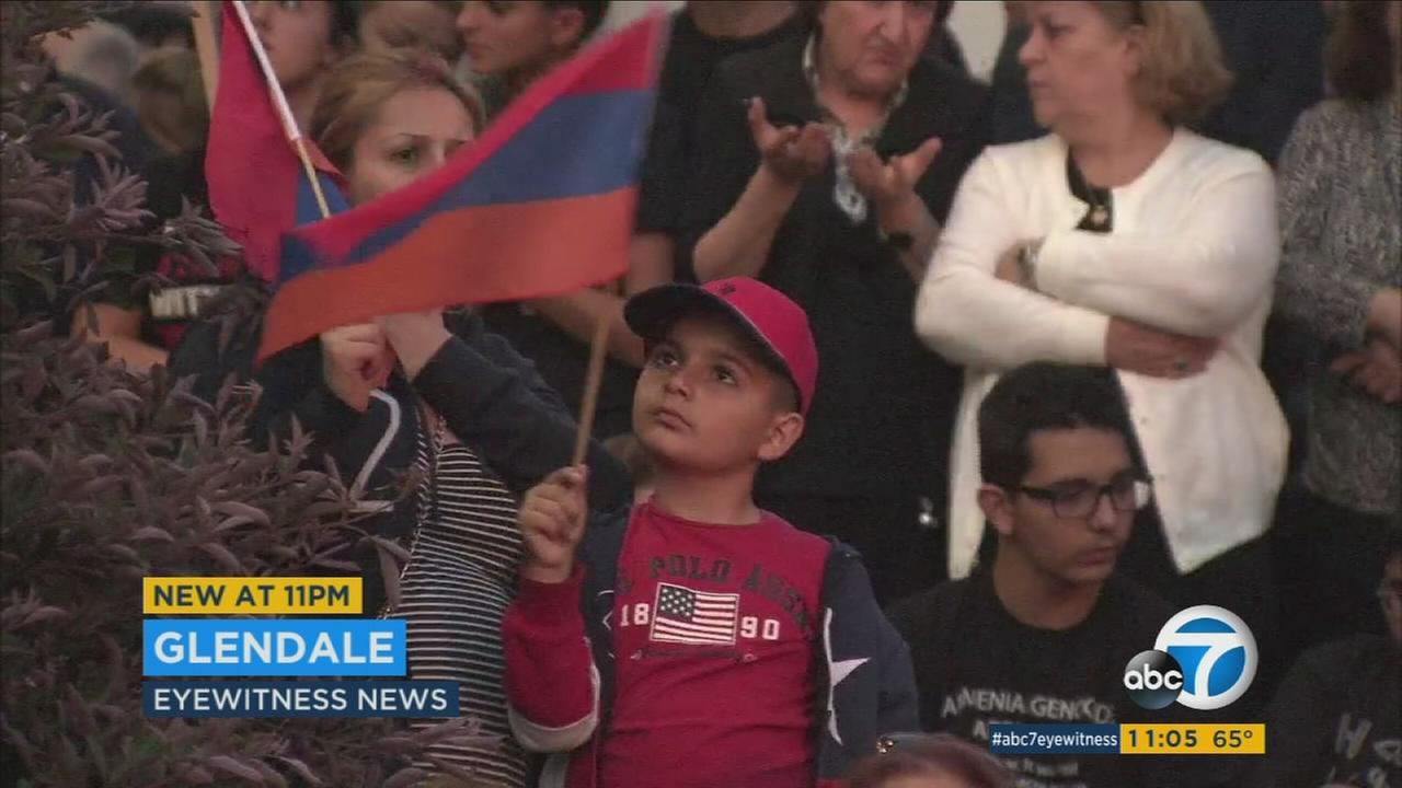 People gather for a vigil in Southern California to remember the victims of the Armenian Genocide on Saturday, April 23, 2016.